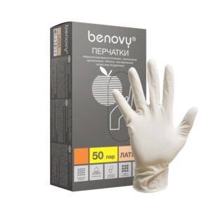 Benovy, Перчатки латексные опудренные 50пар, размер M