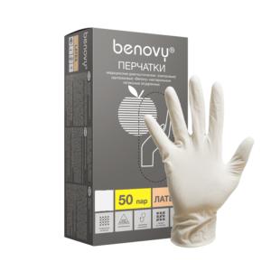 Benovy, Перчатки латексные опудренные 50пар, размер S