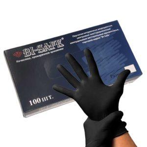 BI-SAFE, Перчатки нитриловые текстурированные на пальцах черные 50пар