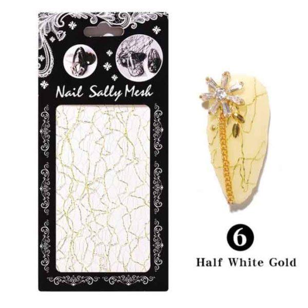 3D Сетка для дизайна ногтей №06, белое с золотом