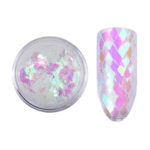 Блестки «Ромбики» №01, перламутрово-белые с розовым отливом