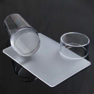 Штамп для стемпинга силиконовый + скрапер, Прозрачный