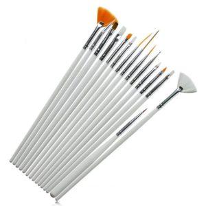 Набор кистей для дизайна ногтей Белые, 15шт