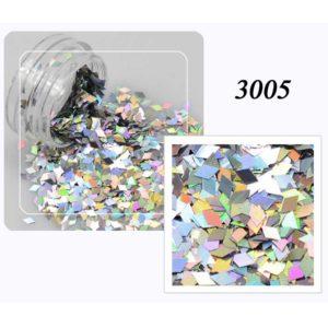 Блестки «Ромбики» №3005, серебро лазер