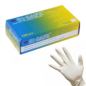 BI-SAFE, Перчатки латексные опудренные 50пар