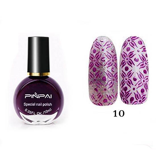 PinPai, Лак для стемпинга №10 фиолетовый, 10мл