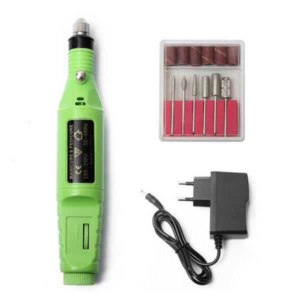 Аппарат для маникюра портативный 20 000 об/мин, зеленый