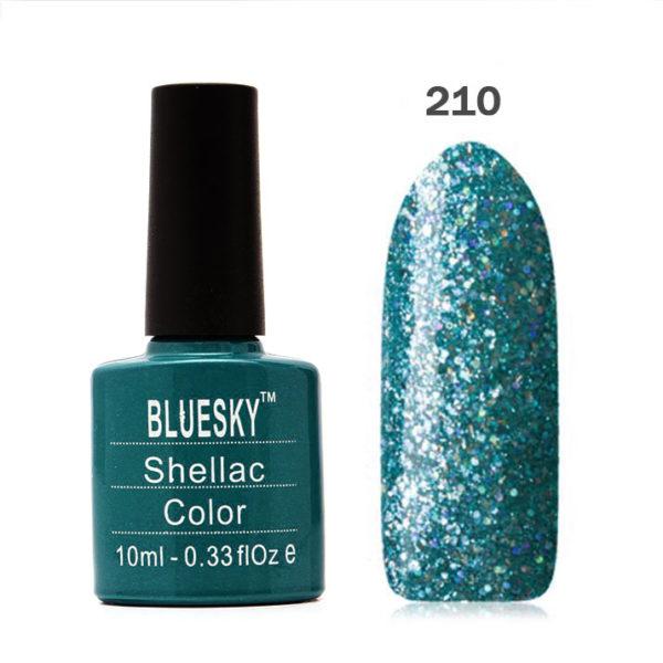 Bluesky (Блюскай), Гель-лак №210 бирюзово-синий с голограф. блестками, 10мл
