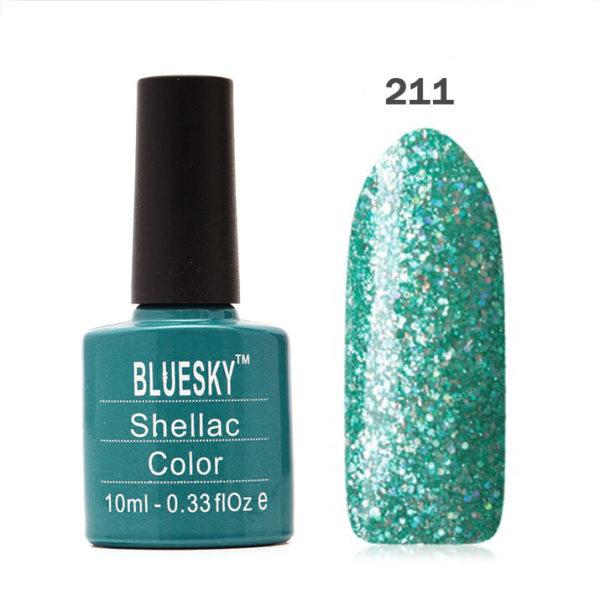 Bluesky (Блюскай), Гель-лак №211 бирюзово-зеленый с голограф. блестками, 10мл