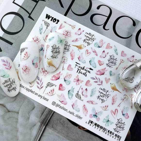 Fashion Nails, Слайдер дизайн White-103